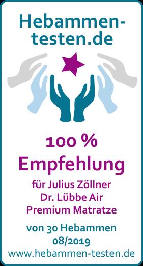 Siegel: 100 % Empfehlung von Hebammen-testen.de für Julius Zöllner Dr. Lübbe Air Premium Matratze
