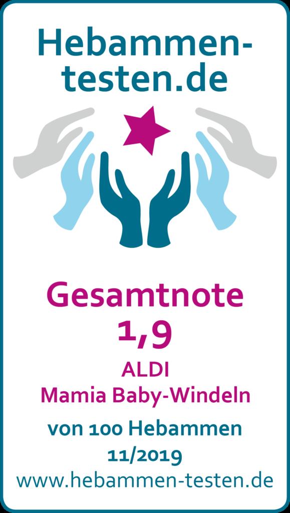 Siegel: Gesamtnote 1,9 von Hebammen-testen.de für ALDI Mamia Baby-Windeln