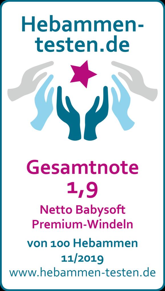 Siegel: Gesamtnote 1,9 von Hebammen-testen.de für Netto Babysoft Premium-Windeln