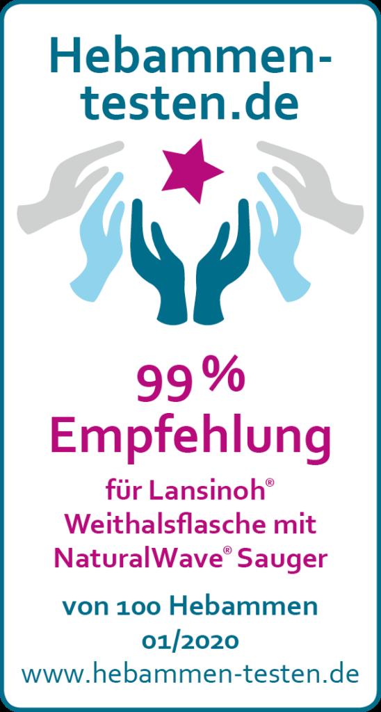 Siegel: 99 % Empfehlung von Hebammen-testen.de für Lansinoh® Weithalsflasche mit NaturalWave® Sauger