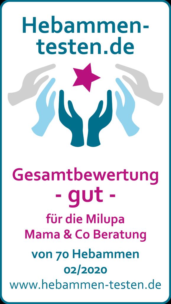 Siegel: Gesamtbwertung gut von Hebammen-testen.de für die Milupa Mama & Co Beratung